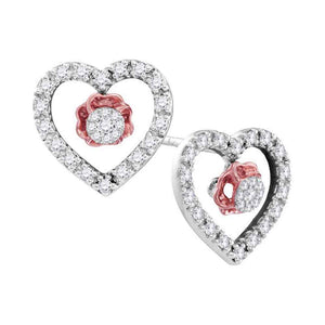 10kt White Gold Womens Round Diamond Heart Love Earrings 1/3 Cttw