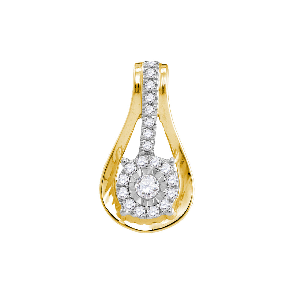 10kt Yellow Gold Womens Round Diamond Flower Cluster Teardrop Pendant 1/8 Cttw