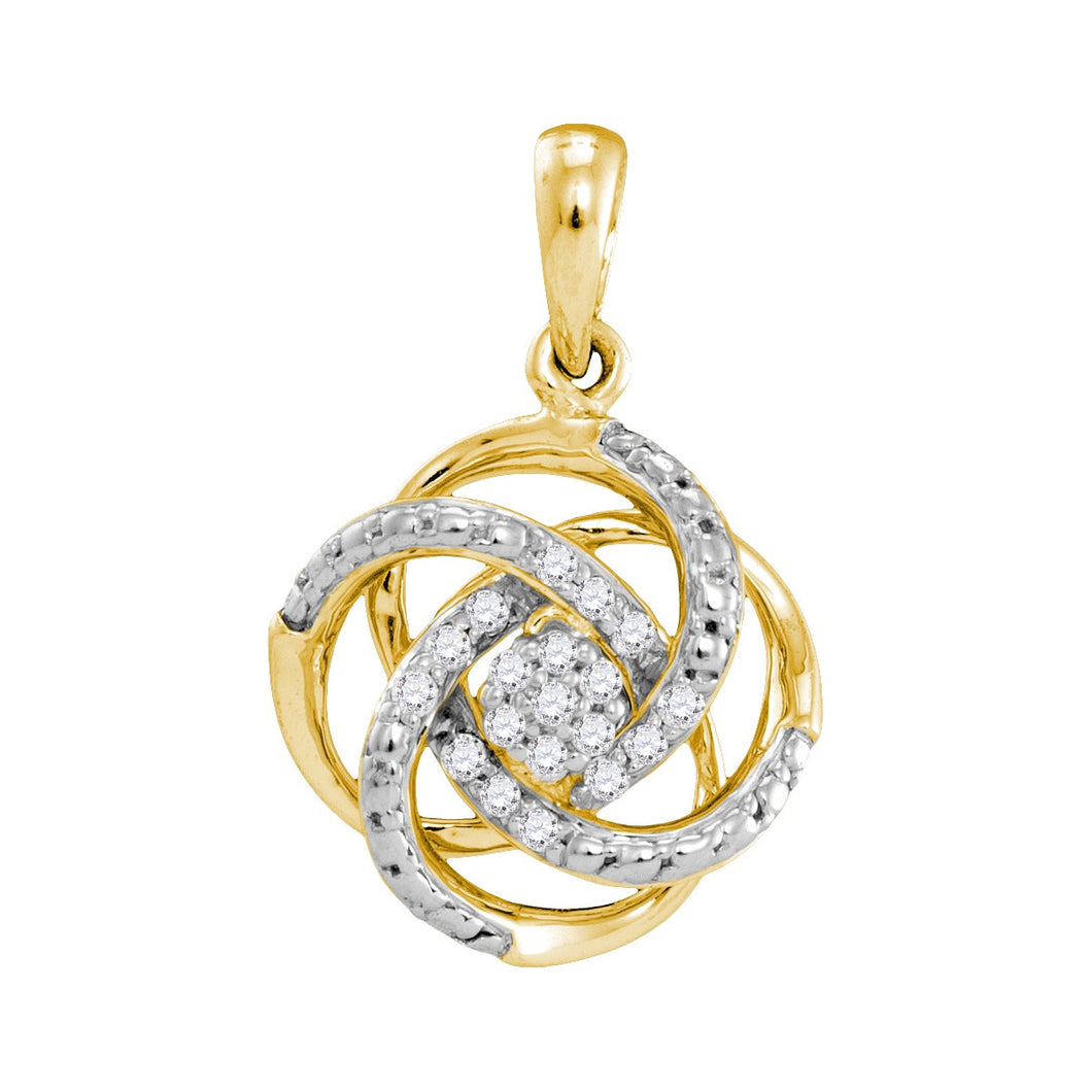 10kt Yellow Gold Womens Round Diamond Cluster Pendant 1/10 Cttw