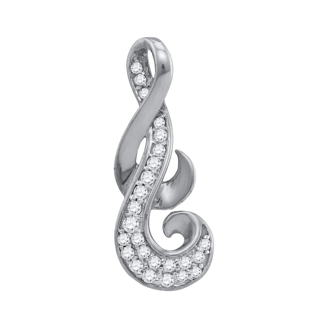 10kt White Gold Womens Round Diamond Cluster Curled Pendant 1/8 Cttw
