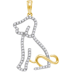 10kt Yellow Gold Womens Round Diamond Dog Doggy Puppy Pendant 1/5 Cttw