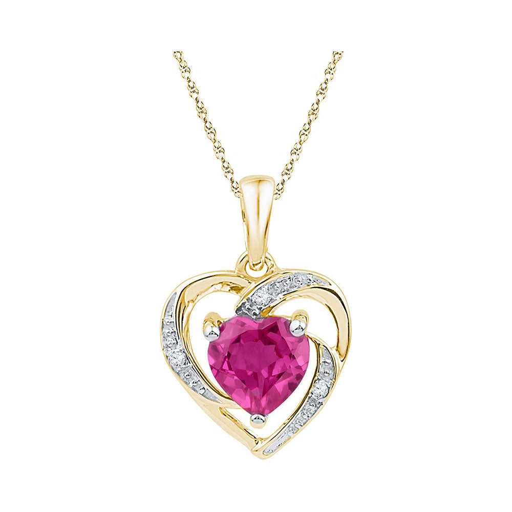 10kt Yellow Gold Womens Round Lab-Created Pink Sapphire Heart Pendant 1-1/8 Cttw