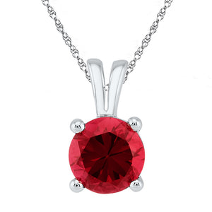 10kt White Gold Womens Round Lab-Created Ruby Solitaire Pendant 1-1/3 Cttw