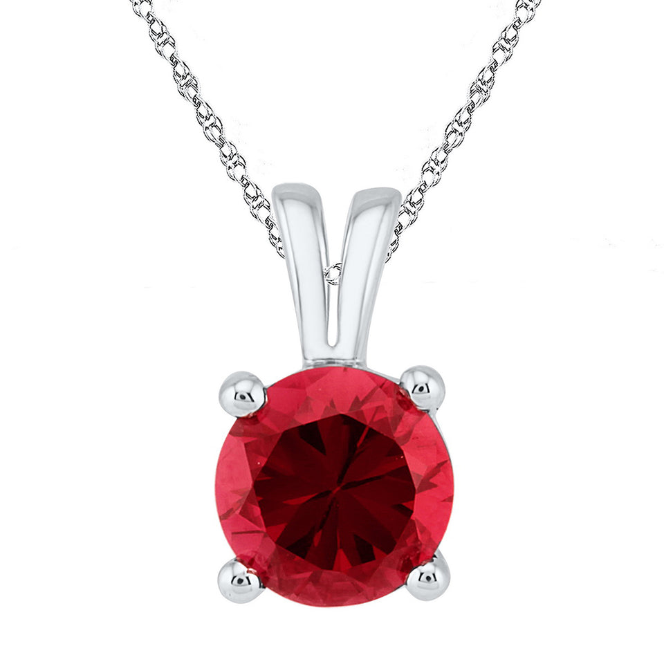 Sterling Silver Womens Round Lab-Created Ruby Solitaire Pendant 1-1/3 Cttw