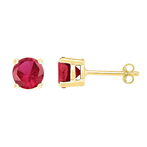 10kt Yellow Gold Womens Round Lab-Created Ruby Stud Earrings 2.00 Cttw