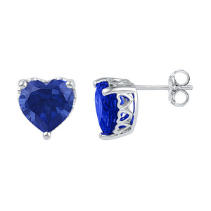 10kt White Gold Womens Lab-Created Blue Sapphire Heart Stud Earrings 7.00 Cttw