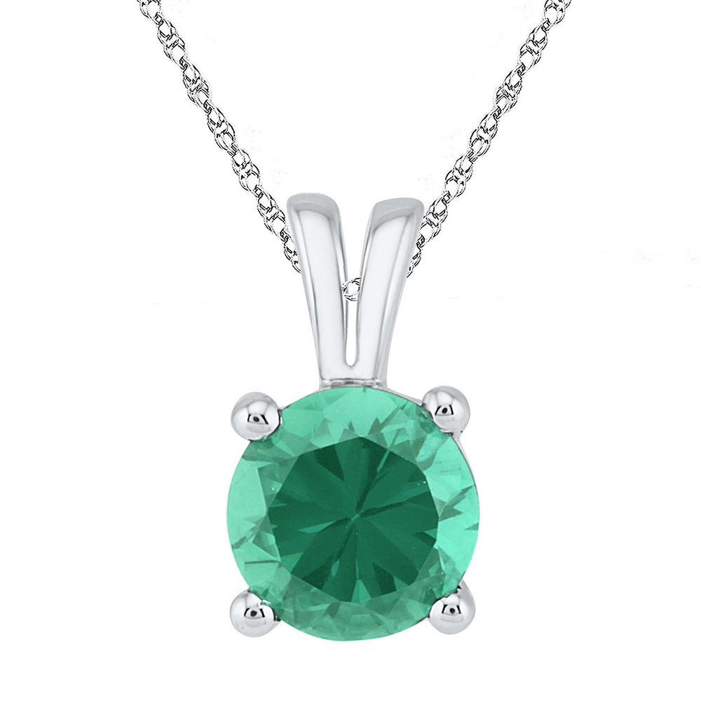 Sterling Silver Womens Round Lab-Created Emerald Solitaire Pendant 1-1/3 Cttw