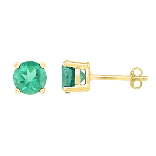 10kt Yellow Gold Womens Round Lab-Created Emerald Solitaire Stud Earrings 2.00 Cttw