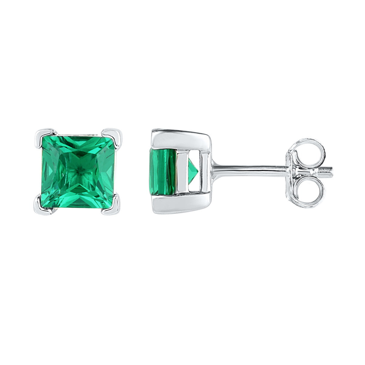 26b2883b27f09 Sterling Silver Womens Princess Lab-Created Emerald Solitaire Stud Earrings  2.00 Cttw