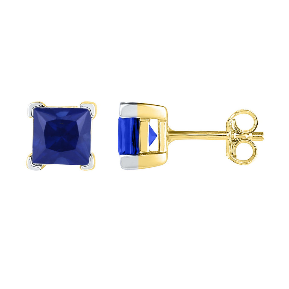 10kt Yellow Gold Womens Princess Lab-Created Blue Sapphire Solitaire Stud Earrings 2.00 Cttw
