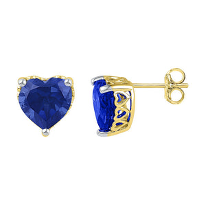10kt Yellow Gold Womens Lab-Created Blue Sapphire Heart Stud Earrings 7.00 Cttw