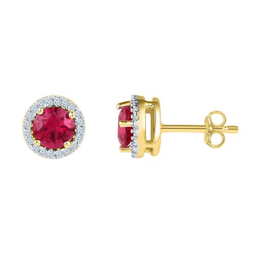 10kt Yellow Gold Womens Round Lab-Created Ruby Solitaire Stud Earrings 1-1/3 Cttw
