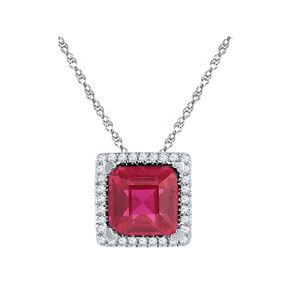 10kt White Gold Womens Cushion Lab-Created Ruby Solitaire Diamond Pendant 1-7/8 Cttw