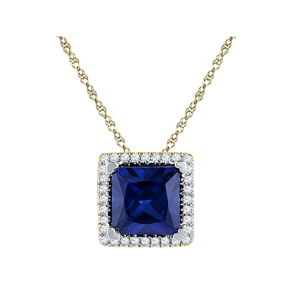 10kt Yellow Gold Womens Princess Lab-Created Blue Sapphire Solitaire Diamond Pendant 1-7/8 Cttw