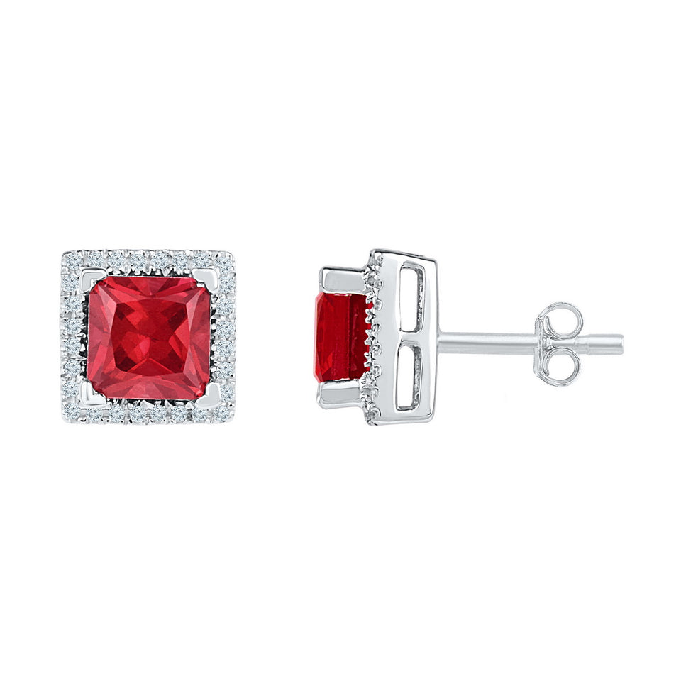 Sterling Silver Womens Princess Lab-Created Ruby Stud Earrings 2.00 Cttw