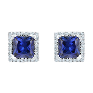 10kt White Gold Womens Princess Lab-Created Blue Sapphire Stud Earrings 2.00 Cttw