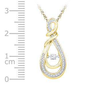 10kt Yellow Gold Womens Round Diamond Twinkle Moving Infinity symbol Heart Love Pendant 1/3