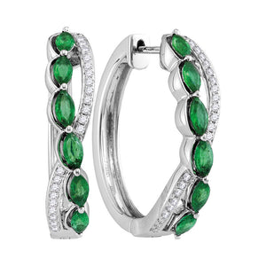 14kt White Gold Womens Oval Natural Emerald Diamond Woven Hoop Earrings 1/4 Cttw