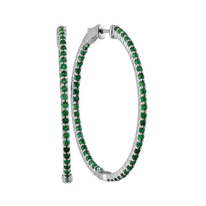 14kt White Gold Womens Round Emerald Hoop Earrings 3.00 Cttw