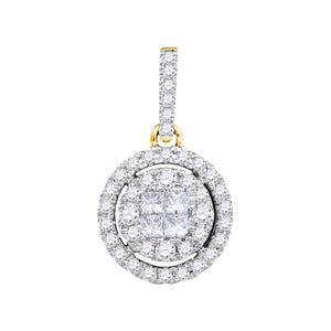 14kt Yellow Gold Womens Princess Round Diamond Soleil Framed Cluster Pendant 1/2 Cttw