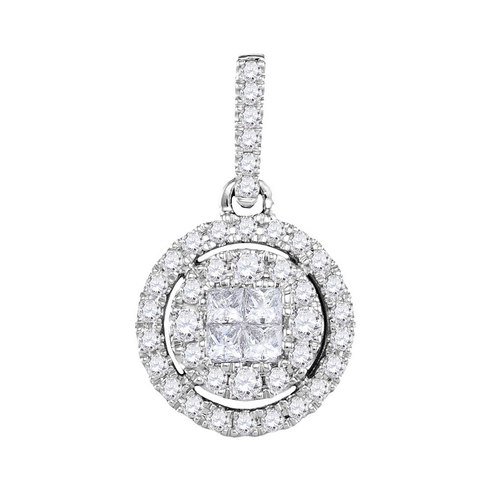 14kt White Gold Womens Princess Round Diamond Soleil Framed Cluster Pendant 1/2 Cttw
