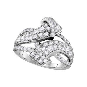 14kt White Gold Womens Round Pave-set Diamond Bypass Strand Band 1-1/2 Cttw