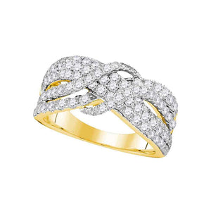 14kt Yellow Gold Womens Round Pave-set Diamond Crossover Strand Band 1-1/2 Cttw