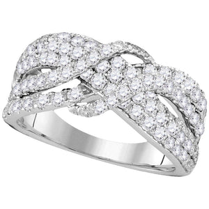 14kt White Gold Womens Round Pave-set Diamond Crossover Strand Band 1-1/2 Cttw