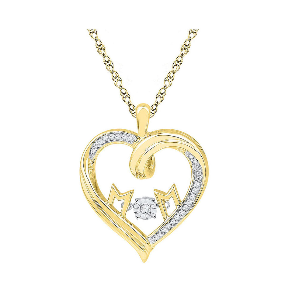 10kt Yellow Gold Womens Round Diamond Moving Twinkle Mom Heart Pendant 1/12 Cttw