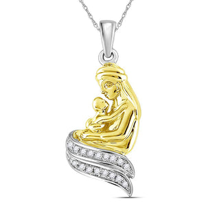 Sterling Silver Womens Round Diamond Mom Mother Child Embrace Pendant 1/10 Cttw