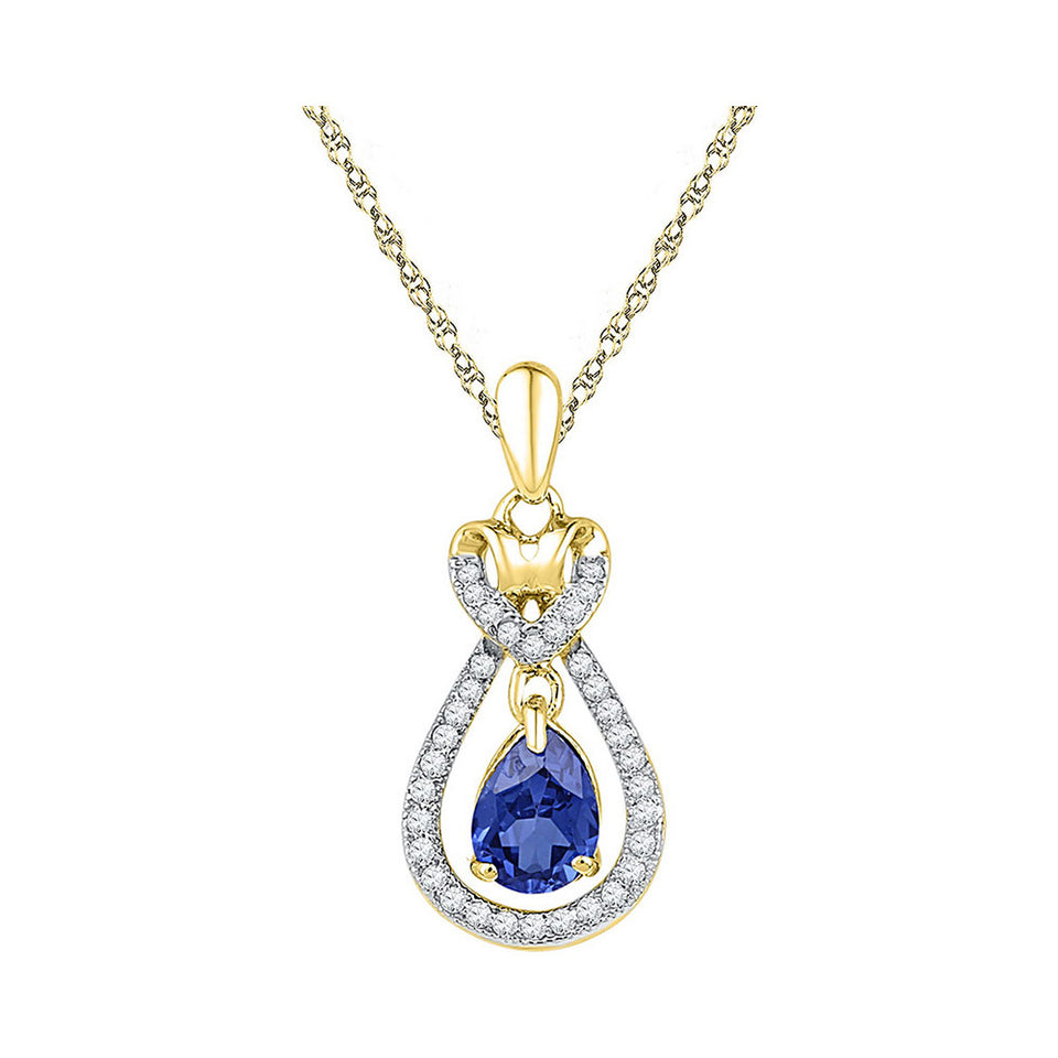 10kt Yellow Gold Womens Oval Lab-Created Blue Sapphire Solitaire Pendant 1/6 Cttw