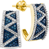 10kt Yellow Gold Womens Round Blue Color Enhanced Diamond Half J Hoop Earrings 1/10 Cttw