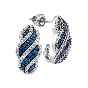 10kt White Gold Womens Round Blue Color Enhanced Diamond J Half Hoop Earrings 1/10 Cttw