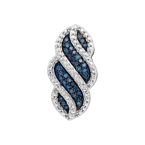 10kt White Gold Womens Round Blue Color Enhanced Diamond Striped Vertical Pendant 1/10 Cttw