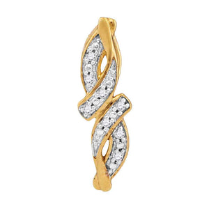 10kt Yellow Gold Womens Round Diamond Bypass Infinity Pendant .02 Cttw