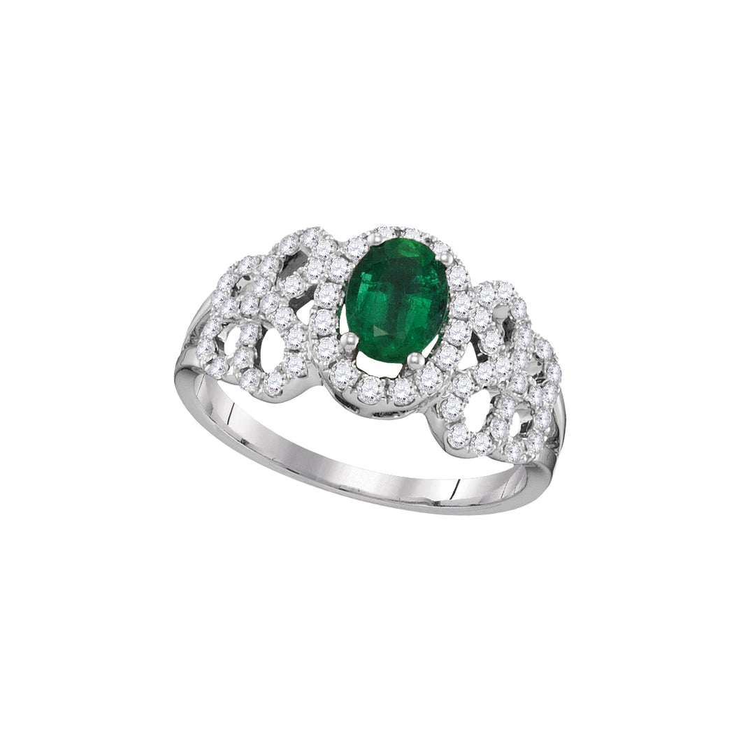 18kt White Gold Womens Oval Emerald Solitaire Diamond-accent Ring 1-1/8 Cttw