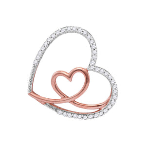 10kt White Gold Womens Round Diamond Rose Nested Heart Love Pendant 1/8 Cttw
