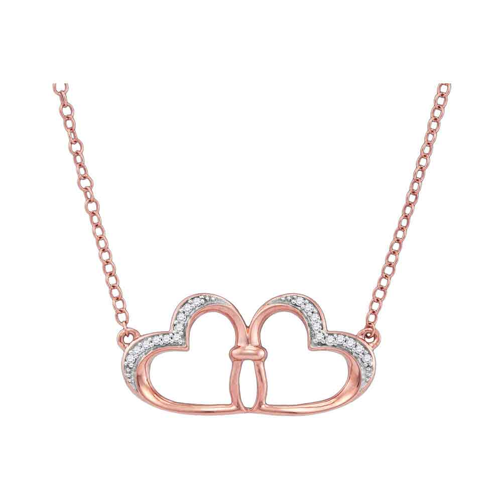 10kt Rose Gold Womens Round Diamond Heart Love Pendant Necklace 1/20 Cttw
