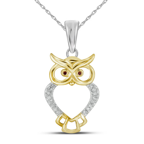 10kt Yellow Gold Womens Round Red Color Enhanced Diamond Owl Bird Animal Pendant 1/20 Cttw