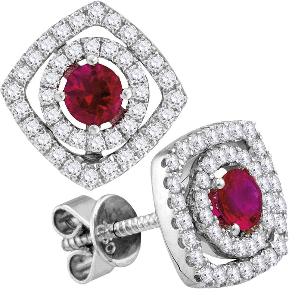 18kt White Gold Womens Round Ruby Square Frame Stud Earrings 7/8 Cttw