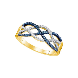 10kt Yellow Gold Womens Round Blue Color Enhanced Diamond Woven Strand Band Ring 1/4 Cttw