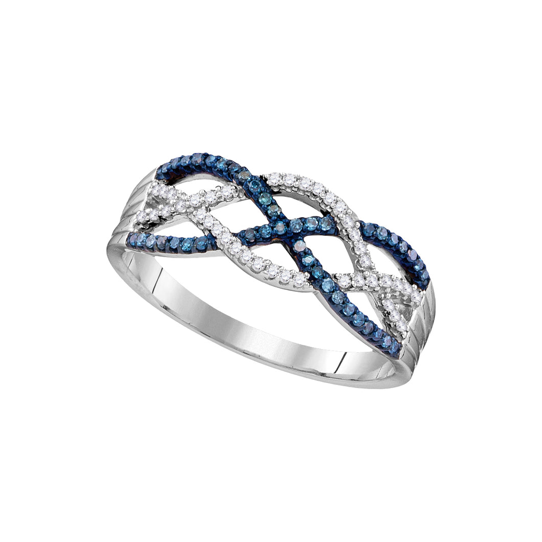 10kt White Gold Womens Round Blue Color Enhanced Diamond Woven Strand Band Ring 1/4 Cttw