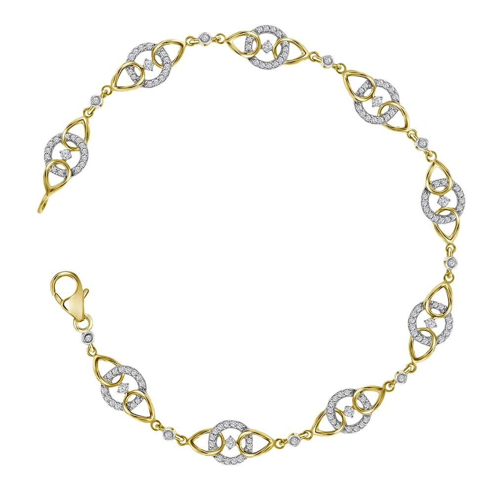 10kt Yellow Gold Womens Round Diamond Linked Circle Fashion Bracelet 1/2 Cttw