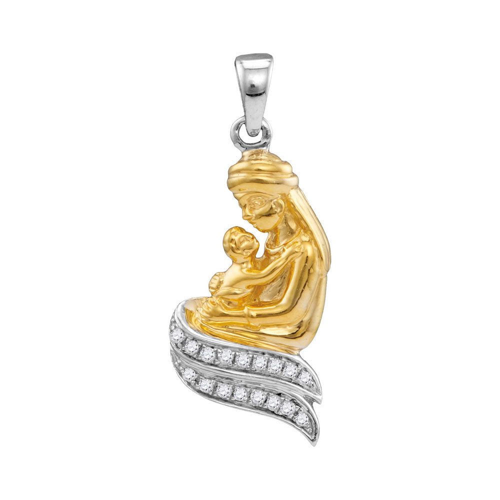 10kt Two-tone Gold Womens Round Diamond Mom Mother & Child Embrace Pendant 1/10 Cttw