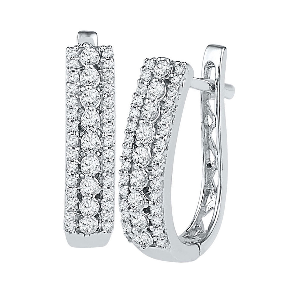10kt White Gold Womens Round Diamond Triple Row Hoop Earrings 3/8 Cttw