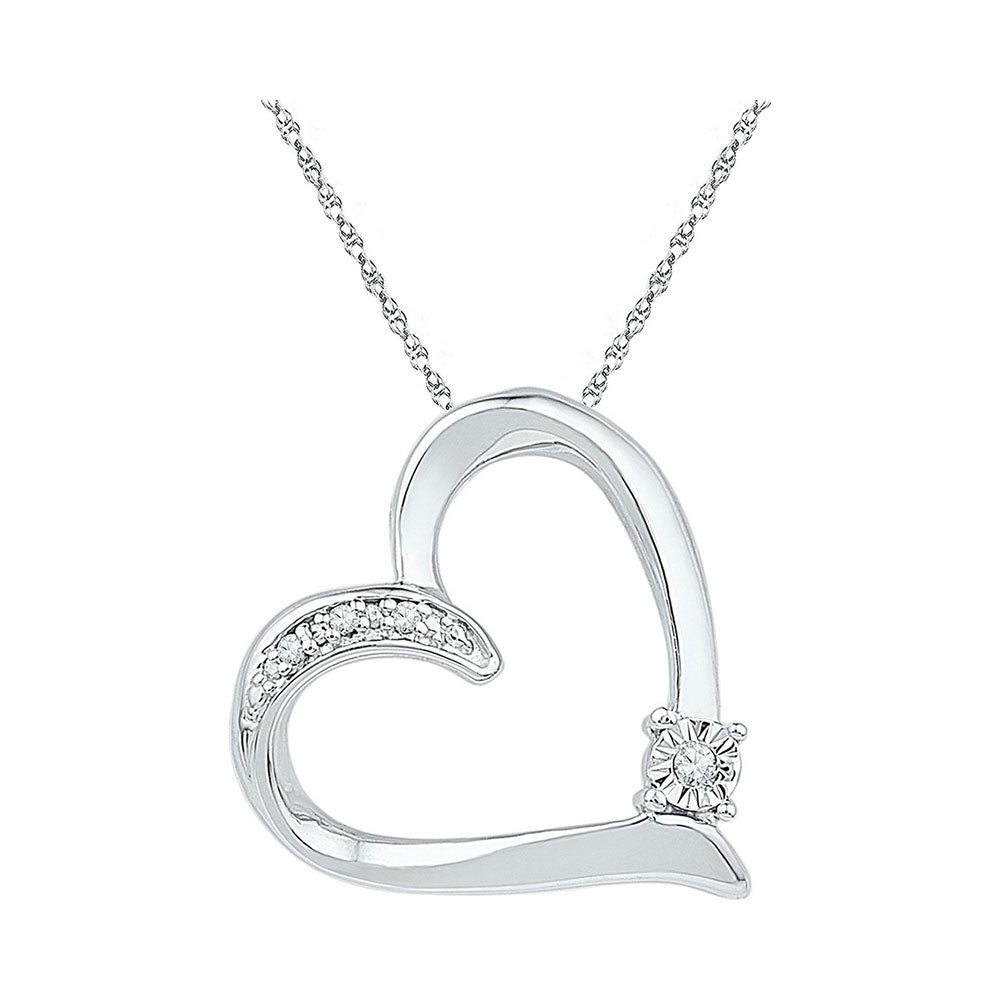 Sterling Silver Womens Round Diamond Solitaire Heart Love Pendant .03 Cttw
