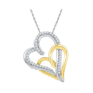 10kt White Gold Womens Round Diamond Two-tone Double Joined Hearts Pendant 1/6 Cttw