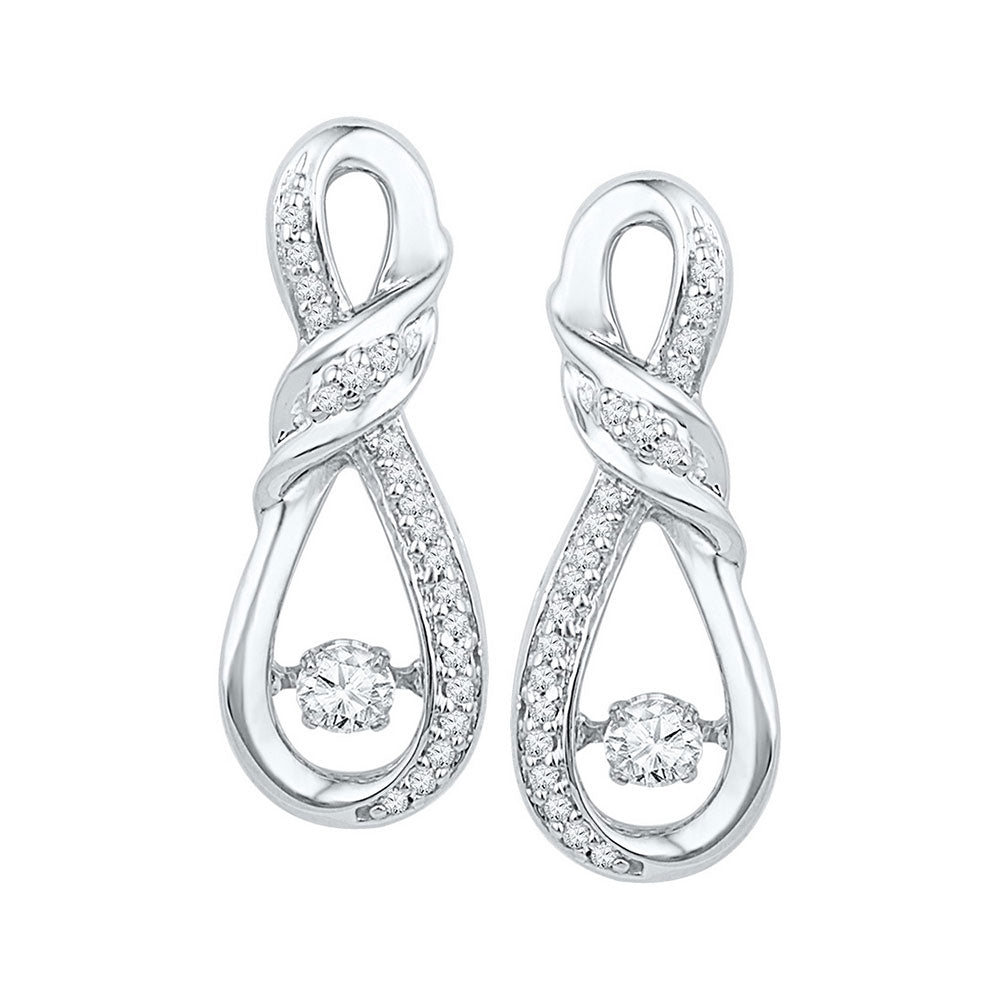 10kt White Gold Womens Round Diamond Moving Twinkle Solitaire Twist Ribbon Earrings 1/3 Cttw