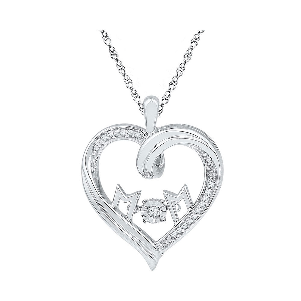 Sterling Silver Womens Round Diamond Heart Mom Moving Twinkle Pendant 1/12 Cttw