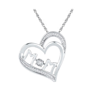 10kt White Gold Womens Round Diamond Moving Twinkle Mom Heart Pendant 1/20 Cttw